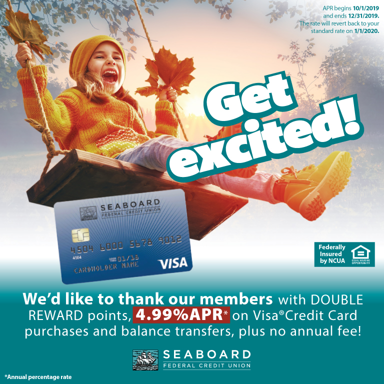 We'd like to thank our members with double reward points, 4.99% APR on Visa Credit Card purchases and balance transfers, plus no annual fee!  Disclaimer: 4.99% APR begins 10/1/2019 and ends 12/31/2019. The rate will revert back to your standard rate on 1/1/2020.